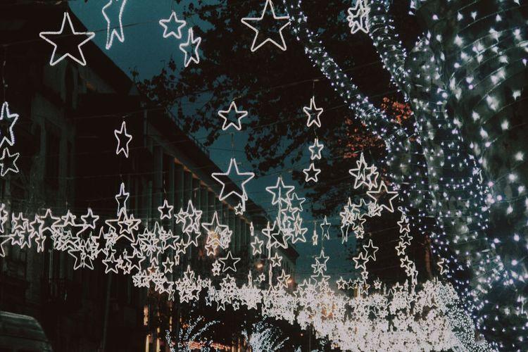 Lighten up Decoration Celebration No People Christmas Star Shape Christmas Decoration Architecture Tree Night Snowflake Illuminated Holiday Christmas Lights Outdoors Shape 2018 In One Photograph