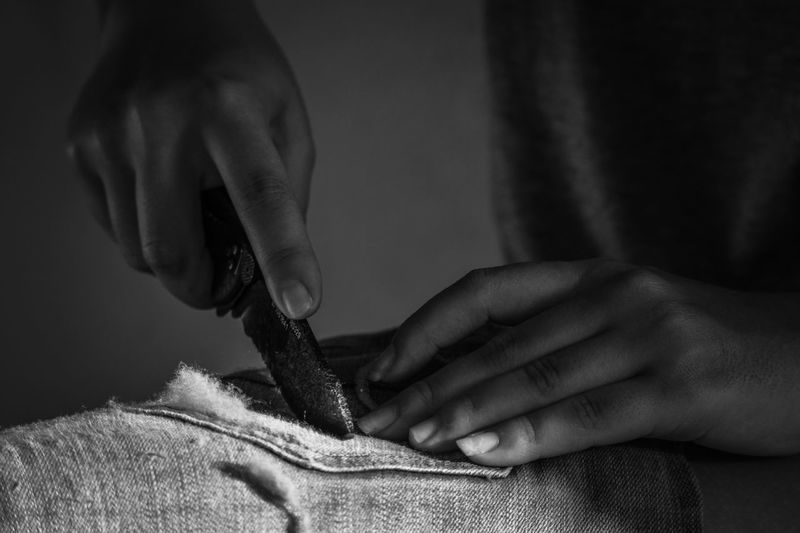 Hands Light And Shadow Monochrome Black And White Human Hand Hand Human Body Part One Person Textile Real People Indoors  Women Craft Skill  Art And Craft Working