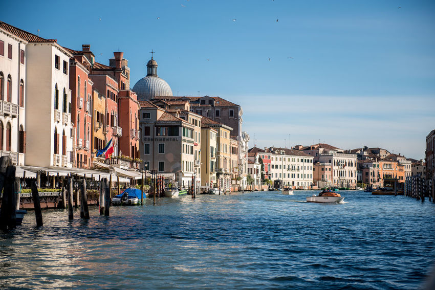 Venice, Italy Architecture Building Exterior Built Structure Canal City Clear Sky Day Dome Gondola - Traditional Boat Mode Of Transport Nautical Vessel No People Outdoors Place Of Worship Religion Sky Spirituality Transportation Travel Destinations Venice Water Waterfront Wooden Post
