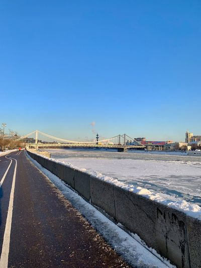 Snow Nature Winter Cold Temperature Moscow Russia Russian Winter Winter Wintertime Transportation Clear Sky Road Blue Copy Space Architecture Built Structure Day The Way Forward Direction No People Water Land Outdoors Diminishing Perspective Krymsky Bridge