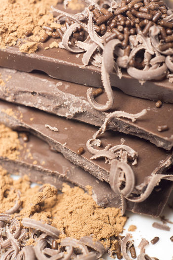 Close-up of chocolate on white background