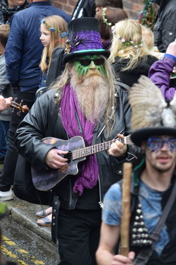 Jack In The Green Festival Jack In The Green Hastings East Sussex May Day 2017 May Day Bearded Man Arts Culture And Entertainment Guitar Musician Music Performance Musical Instrument Portrait Headwear Feather  Tradition Celebration Real People Togetherness One Person Music Live For The Story Green Color Close-up
