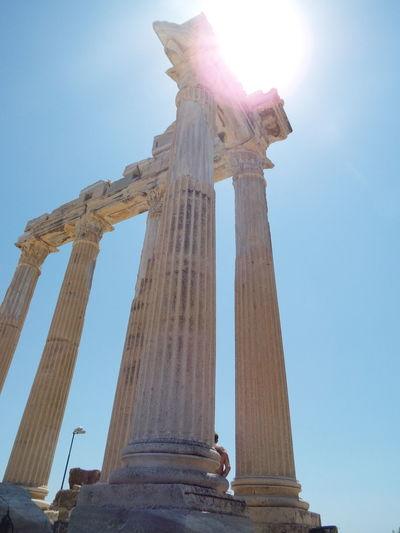 Ancient ruin of Apollo TempleApollo Temple Blue Sky Sun 💗 Side Side, Turkey Historical Monuments Pillars Ancient Ruins Ancient Architecture Ancient