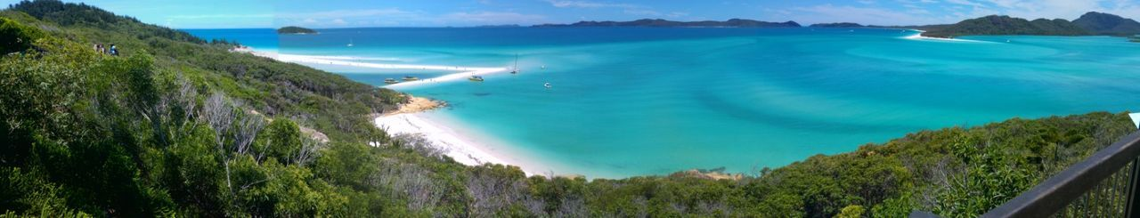 Whitsunday Islands Turquoise Colored Beach Sea Island Coastline Water Sand Tropical Climate Nature Travel Destinations Travel Blue Tourism Beauty Panoramic Cloud - Sky Vacations Landscape Outdoors
