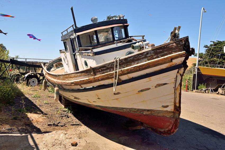 Rust Bucket @ Berkeley Marine Center 3 Antique Trawler Waiting For Restoration Boatyard Boats Fishing TrawlerBoat Repairs And Restoration Not Quite Ready For Water Custom Yacht Builder Marina OCSC Sailing School