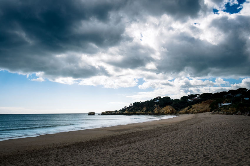 Portugal Albufeira Beach Beauty In Nature Cloud - Sky Coastline Dramatic Sky Holiday Horizon Horizon Over Water Land Nature No People Outdoors Sand Scenics - Nature Sea Sky Tranquil Scene Tranquility Water