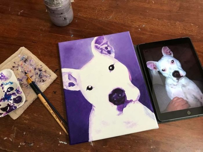 Small pet portrait Acrylics Purple Canvas Artist COMMISSION Pet Portraits Dog Fethers Studio Painting High Angle View Table Indoors  No People Close-up Day
