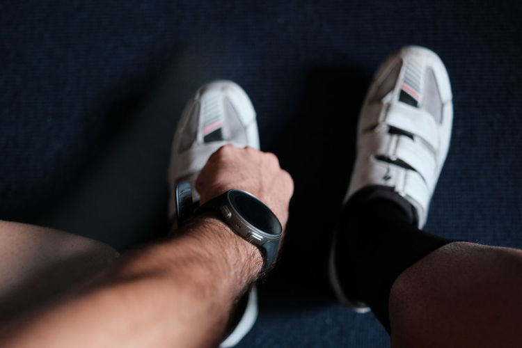 Straping in cycling shoes