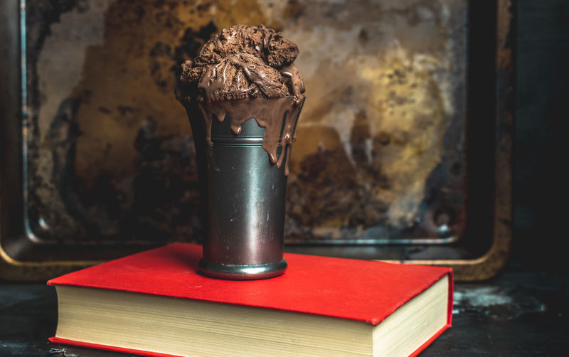 moody, dark, ice cream Chocolate Ice Cream Dark Moody Red Cold Color Darkfoodphotography Food Food Photography Food Styling food stories Food Blogger Close-up Served Pastry Book Cover Hardcover Book Literature Knowledge Bookstore Still Life