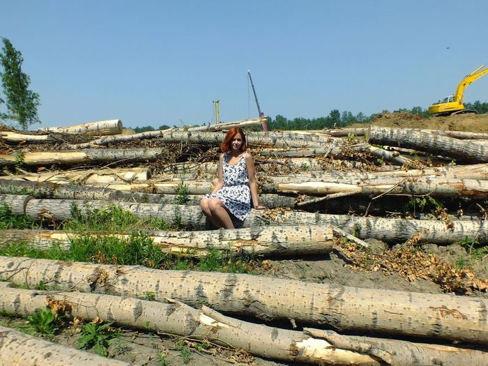 Portrait of woman sitting on logs against clear sky