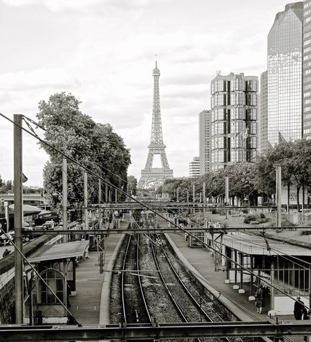 Eiffel Tower From Afar Eiffel Tower From Train Tracks International Landmark Paris Cityscape