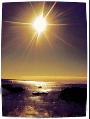 Beauty In Nature Coastline Horizon Over Water Idyllic Nature No People Non-urban Scene Ocean Orange Color Outdoors Reflection Remote Scenics Sea Seascape Shore Sky Sun Sunbeam Sunlight Sunset Tranquil Scene Tranquility Water