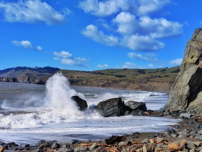The Crash! White Spray Droplets Mist Foreground Background Blue Sky Headlands Water Sea Wave Beach Power In Nature Sand Motion Rock - Object Sky Horizon Over Water Rocky Coastline Rugged Boulder Force Crash Breaking Hitting Rock Formation Geology Tide Coast My Best Photo