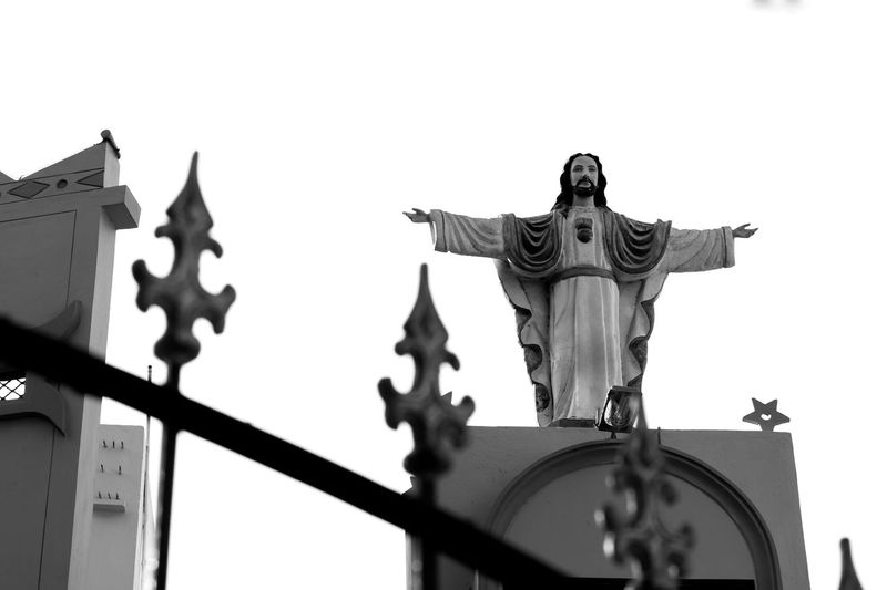 Architecture B Black Black & White Black And White Black And White Collection  Black And White Photography Black Background Black&white Blackandwhite Blackandwhite Photography Blackandwhitephotography Day History Human Representation Jesus Jesus Christ Low Angle View No People Outdoors Sculpture Sky Standing Statue