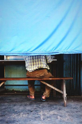 Man Eating at WARTEG (Warung Tegal) Eating Warteg Streetfood Street Framing Traditional Food Place Corrugated Iron Sky Footwear Human Leg Human Foot Shoe Feet Low Section EyeEmNewHere