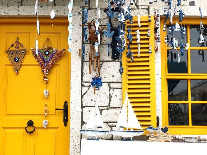 Evil Eye Beads Door Nobody Outdoor Yellow Turkey EyeEm Selects No People Wall - Building Feature Hanging Yellow Security Protection Door Entrance Art And Craft Outdoors Variation Multi Colored Closed