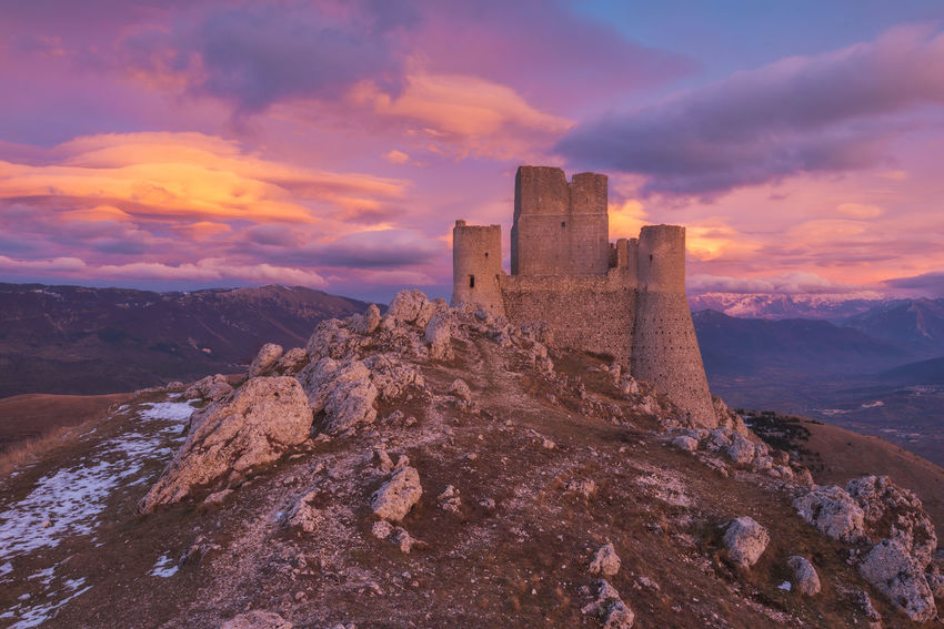 Magical sunset at Rocca Calascio Castle EyeEm Best Shots EyeEm Selects EyeEm Gallery Landscape_Collection Travel Travel Photography Traveling Ancient Architecture Beauty In Nature Built Structure Cloud - Sky Day History Landscape Landscape_photography Landscapes Medieval Nature No People Outdoors Sky Sunset Travel Destinations The Great Outdoors - 2018 EyeEm Awards
