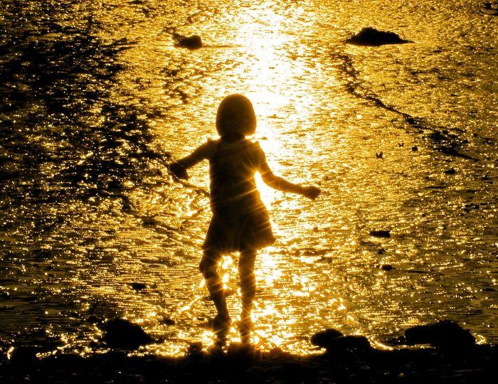 spangled Beach Childhood Dancing Girl Goldenlight Outdoors Reflection Silhouette Sun Spangled Sunlight Sunset Water