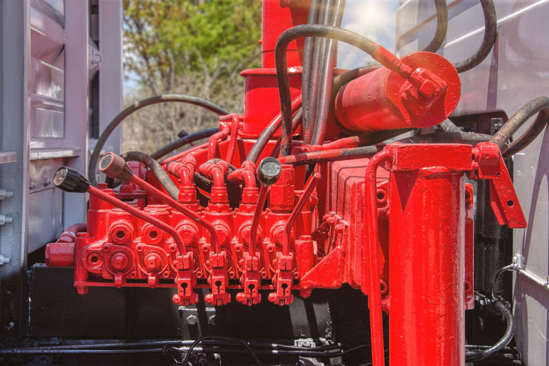 Close-up of red machine part