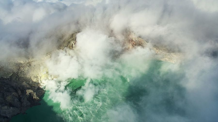 Aerial view of smoke emitting from acid lake