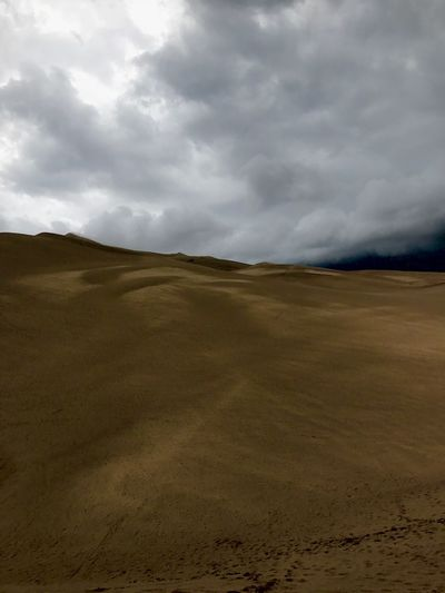 Beautiful stormy evening on a mountain of sand. Landscape Nature Sky Cloud - Sky Tranquil Scene Sand Scenics Beauty In Nature Tranquility Desert Day Arid Climate Outdoors Sand Dune No People Physical Geography Travel Destinations Sandy First Eyeem Photo Lost In The Landscape EyeEmNewHere