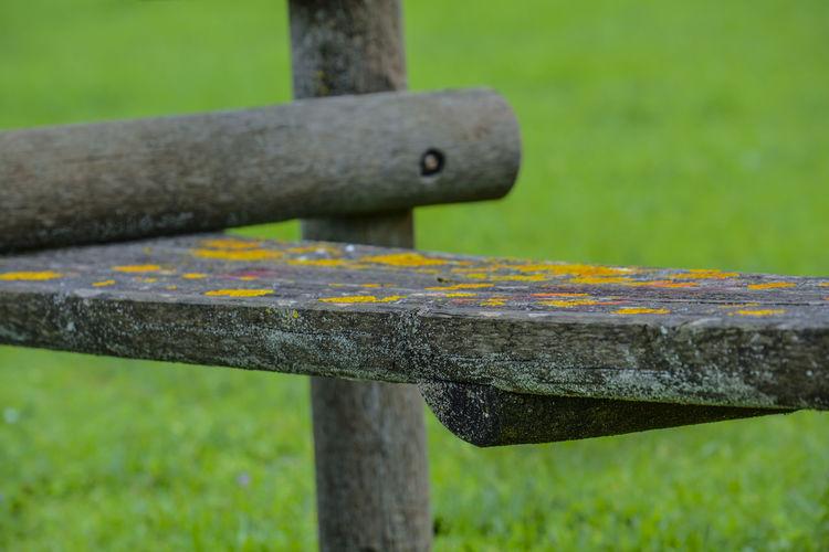 Close-up of metal bench