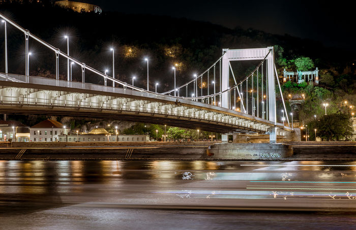 Night view of Elisabeth Bridge (Erzsebet hid). Budapest, Hungary Architecture Budapest Budapest, Hungary Elisabeth Bridge Erzsébet Híd Hungary Night Lights Riverside Road Bridge - Man Made Structure Built Structure Danube River Illuminated Illumination Lamps Long Exposure Motion Night Night View Outdoors River Street Travel Destinations Urban Waterfront