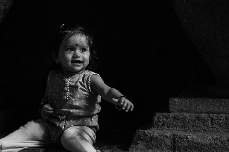 Smiling Smiling Girl Black And White Photography Kids Playing Kids Photography Kids Portrait Black Background Childhood Child Portrait Baby Babyhood Diaper 0-11 Months Baby Clothing Unknown Gender Baby Boys 12-23 Months Toddler  One Baby Girl Only Pacifier Preschooler Babies Only My Best Photo