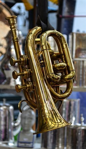 A horn in a vintage stall at the Portobello Market Close-up Horn Musical Instrument No People Pjpink Still Life Trumpet Vintage Vintage Shopping