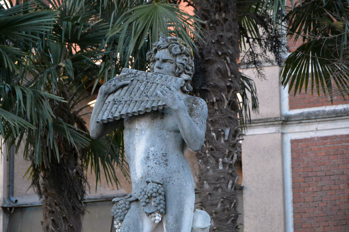 A statue of Baccus in the garden of a villa near the lake, in Porto Ceresio, Varese, Italy. Bacco Baccus Italia Italy Lombardia Lombardy Mythology Outdoors Palm Tree Porto Ceresio Statua Statue Varese