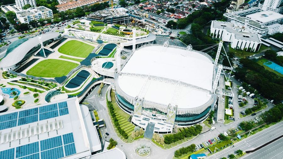 Spice Arena , Pulau Pinang , Malaysia . Aerial View Drone  Green Color Green White Nature Photography Nature High Angle View Day Architecture Outdoors No People Built Structure Building Exterior City