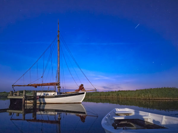 Night at a little danish port. Falling Star Blue Day Fishing Boat Lake Mast Mode Of Transportation Moored Nature Nautical Vessel No People Outdoors Pole Reflection Sailboat Sky Tranquil Scene Tranquility Transportation Water