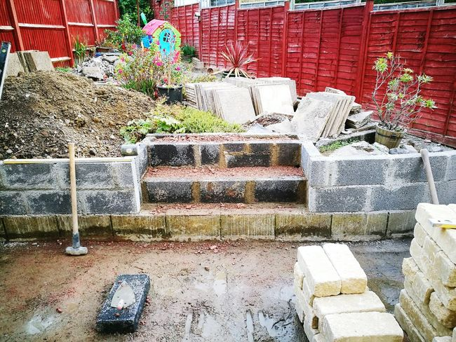Day No People Outdoors Architecture Nature Concrete Wall Concrete Steps Cotswold Blocks Building Materials Muddy Garden Cemented Blockwork Concrete Block Wall Concrete Blocks Landscaping Design Hard Landscaping Garden Construction Landscaping Built Structure