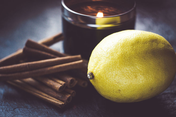Close-up of lemon on table
