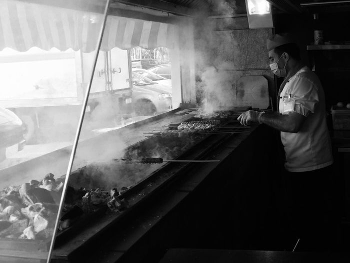 Blackandwhite Lunch BBQ Grill Restaurant Light And Shadow Eating