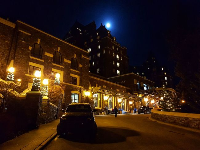 Night Illuminated Architecture Built Structure Building Exterior Outdoors Banff, Alberta Full Moon Banff Springs Hotel Historical Building
