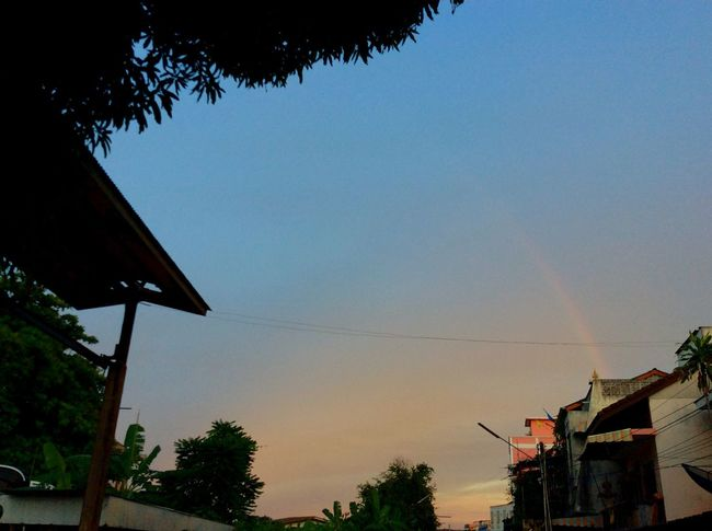 I Love My City Rainbow Sunshine Evening Sky Clouds Enjoying The Sights My Hometown I Miss My Mom. We ❤️ Thailand
