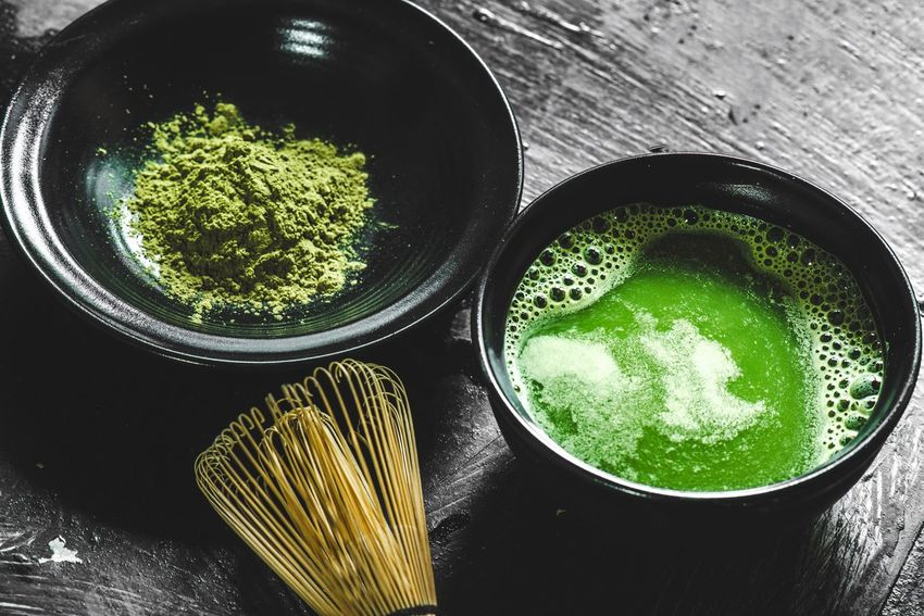 Matcha green tea Macro Raw Japan Hot Drink Zen Backgrounds Powder Tea Matcha Green Tea Matcha Tea Green High Angle View Still Life Green Color Table Directly Above Close-up Food Nature Freshness Food And Drink Indoors