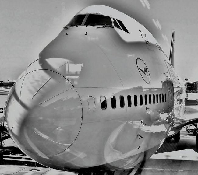 Boeing 747 Lufthansa Airport Frankfurt Blackandwhite Photography Hi! Hello World Aviation Monochromatic Black And White Blackandwhitephotography