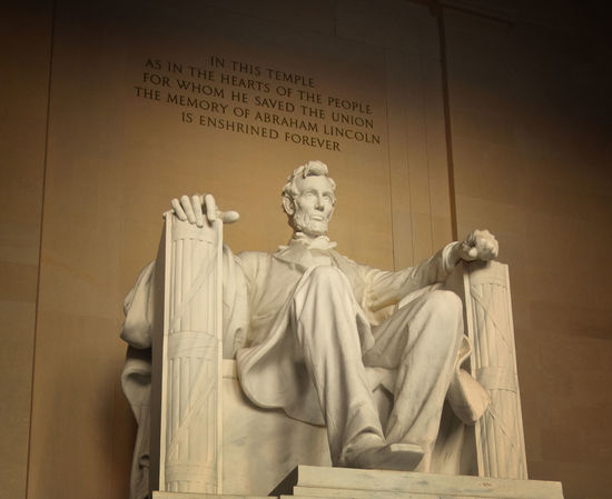 Abe Human Representation Representation Sculpture Statue Male Likeness Architecture No People Text History The Past Memorial Art And Craft Western Script Wall - Building Feature Tourism Travel Destinations Low Angle View Politics Government Abraham Lincoln Abraham Lincoln Statue