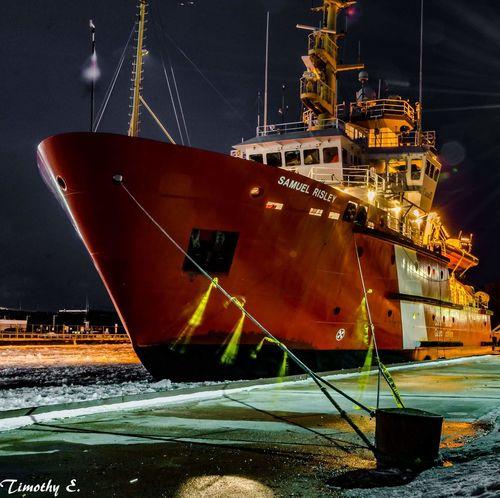 Canadian Coast Guard ship Samuel Risley Canadian Coast Guard Ship Nikon D7000 Nighttime Light And Shadow Canada Coast To Coast NikonLife Ontario Canada Lake Huron, Canada Goderich Ontario