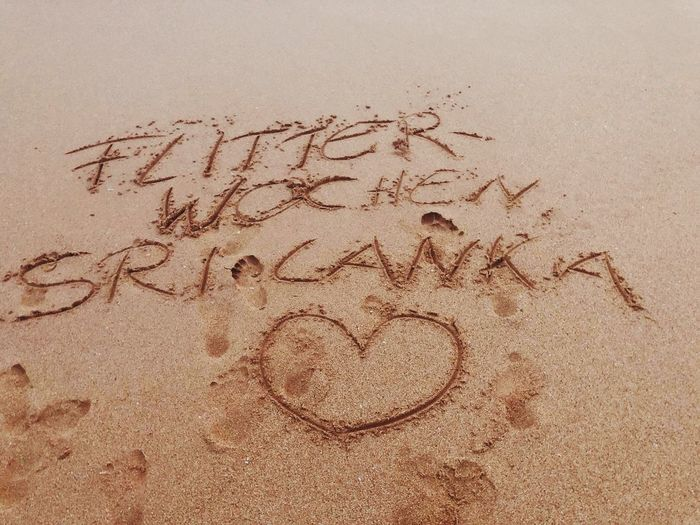 Sri Lanka Text Sand Communication Western Script Handwriting  No People Land Love Beach Positive Emotion Nature Outdoors Art And Craft Creativity 2018 In One Photograph