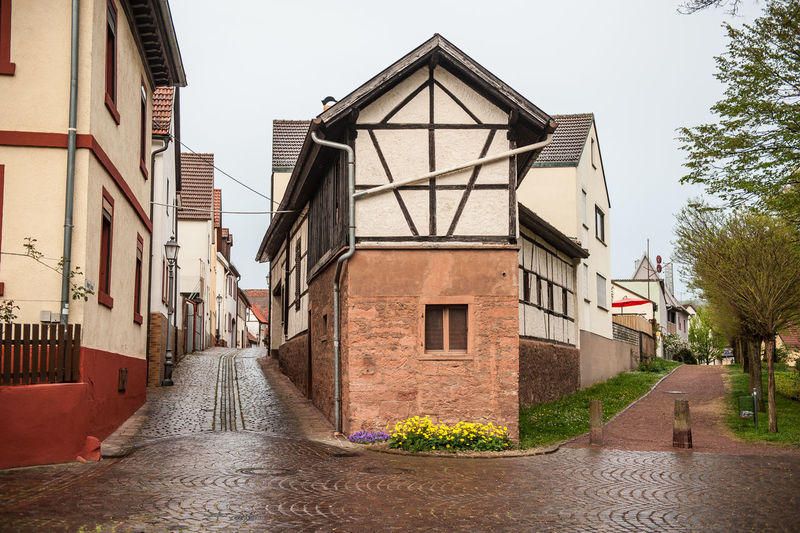 Architecture Built Structure Building Exterior Building Residential District Day Sky House City Direction Nature The Way Forward No People Plant Wet Street Water Outdoors Tree Rain Half Timbered House Cobblestone