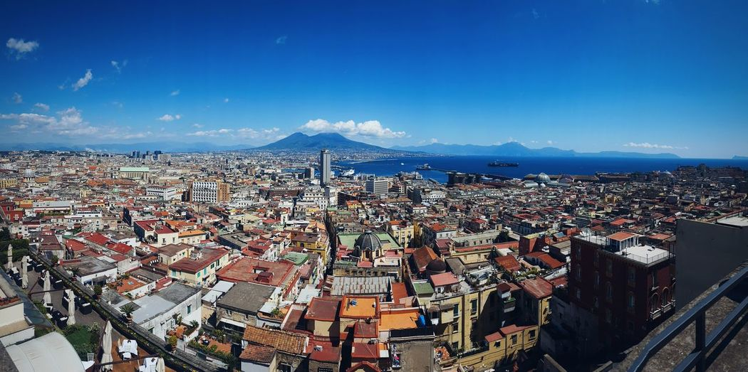 Napoli Sky And Clouds Travel Architecture Beauty In Nature Blue Blue Sky Building Exterior Built Structure City Cityscape Crowded Day High Angle View Mountain Mountain Range Nature Outdoors Photo Residential Building Roof Scenics Sky Town Travel Destinations EyeEmNewHere
