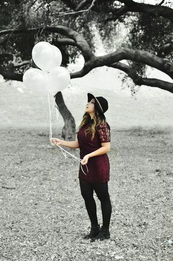 Nature Trees Light Skin Leaf Black And White Sun Bonnets Grass Balloons Big Hat Color Splash Dress
