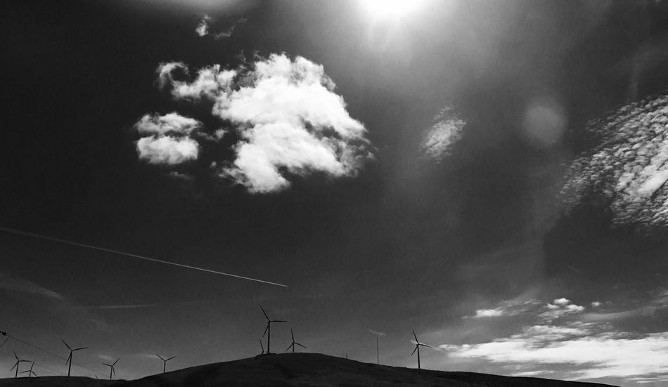 Black and White wind Turbines Low Angle View Sky No People Outdoors Beauty In Nature Scenics Cloud - Sky Windmill Taken With iPhone 7+