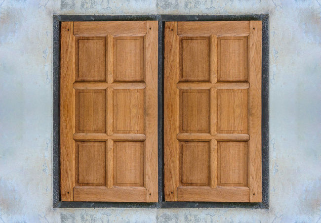 closed wood window Wood - Material Door Architecture No People Entrance Closed Built Structure Wall - Building Feature Security Protection Pattern Brown Safety Day House Old Building Exterior Outdoors Wood Shape Winter Cement Wall Dirty Light Exterior