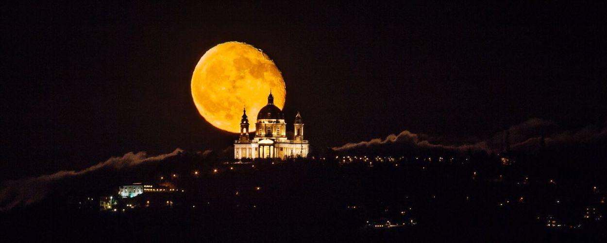 Torino Turin Superga Italy Sky Night Moon City Church Basilica Superga