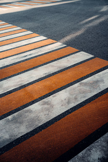 High angle view of zebra crossing on road