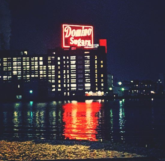 Baltimore Maryland USA Domino Sugar Factory Domino Sugar Neon Sign Night Photography Night Time Neon Water Illuminated Red Danger Cityscape Sky Building Exterior